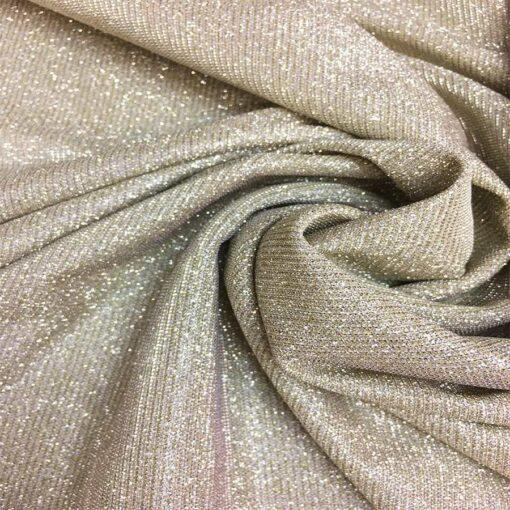Jersey lamé polyester caméléon beige changeant argent