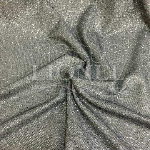 Jersey lamé polyester nid d'abeilles argent