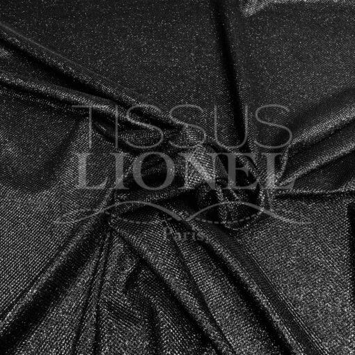 Jersey lamé polyester nid d'abeille noir