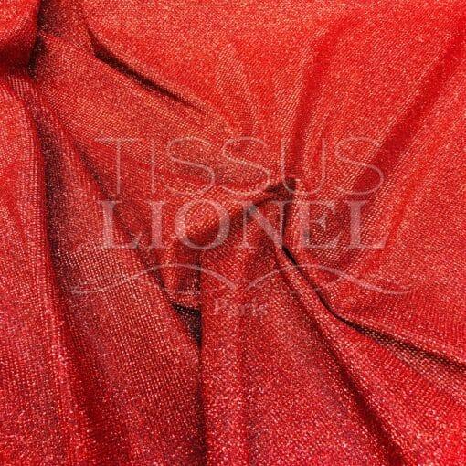 Jersey lamé polyester nid d'abeilles rouge