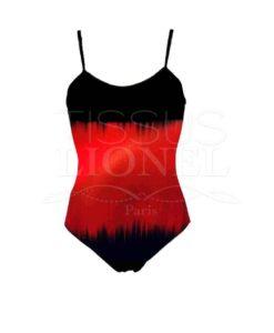 Lycra imprimé ondes sonore dégradé rouge