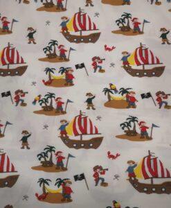 Tissu jersey de coton l'ile aux trésors blanc