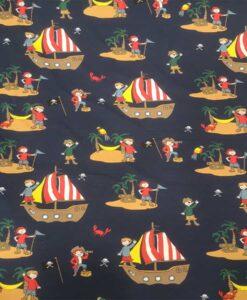 Tissu jersey de coton l'ile aux trésors marine