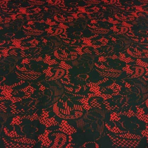 Lycra imprimé effet dentelle rouge et noir