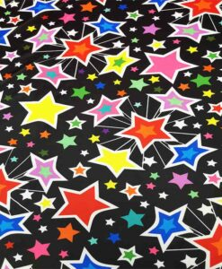 Lycra with multicolored star print