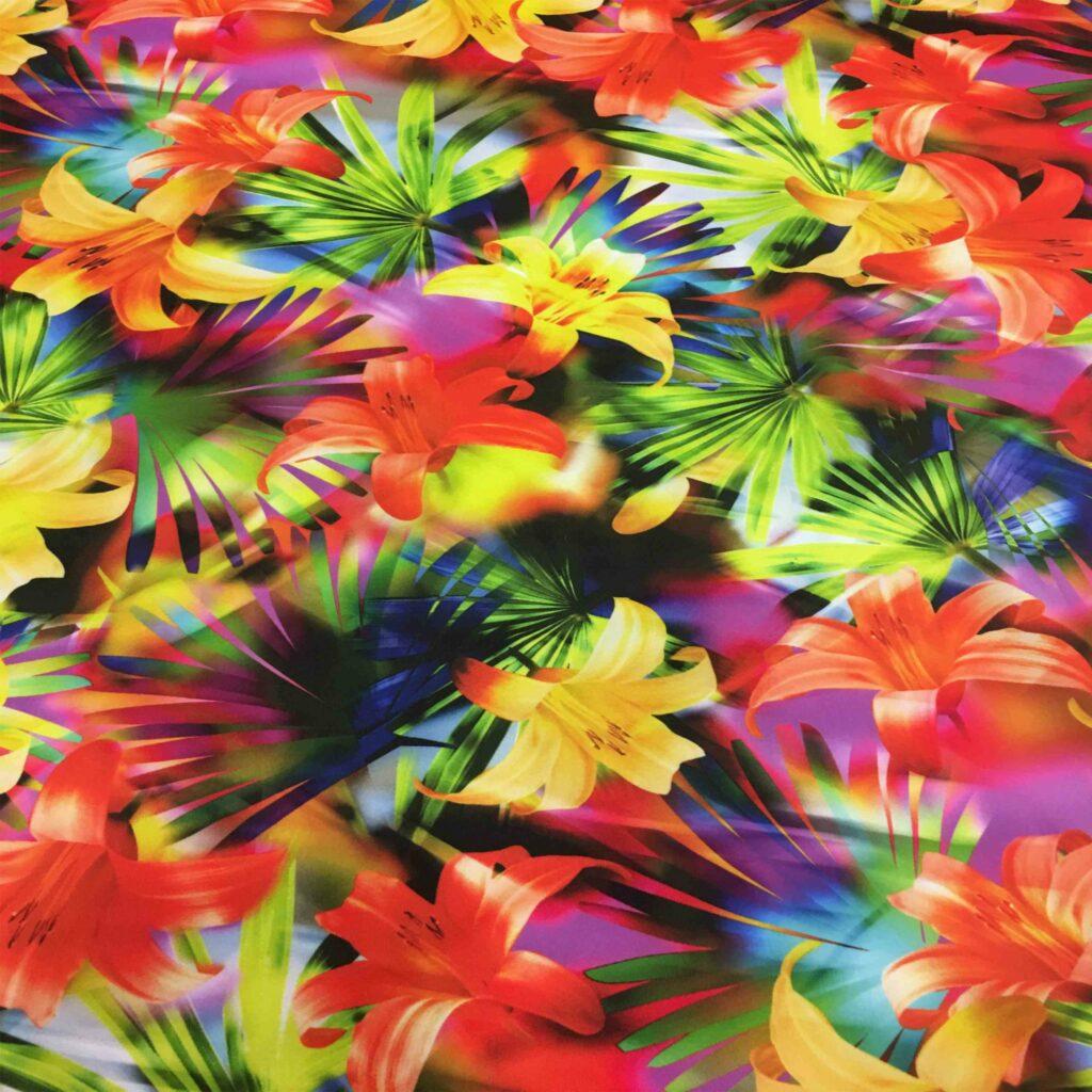 Lycra stampato fiori tropicali
