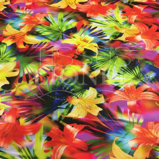 Lycra imprimé fleurs des tropiques