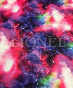 Lycra imprimé galaxie fuchsia