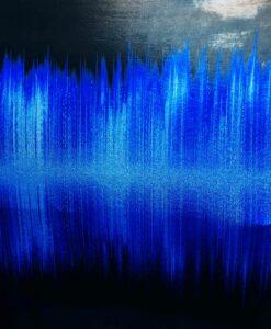 Lycra печатных звуковые волны голубого градиента