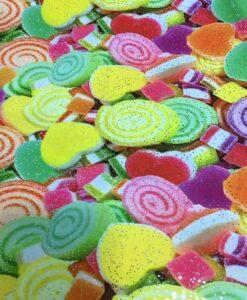 Lycra imprimé pailleté bonbon