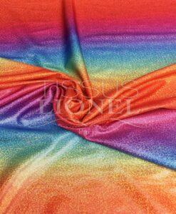 Lycra printed glittery rainbow