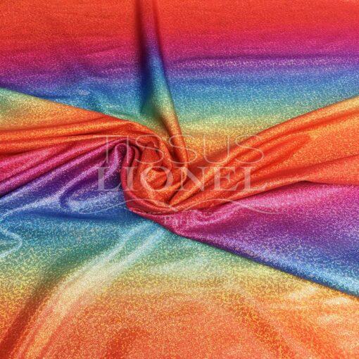 Lycra imprimé pailleté rainbow