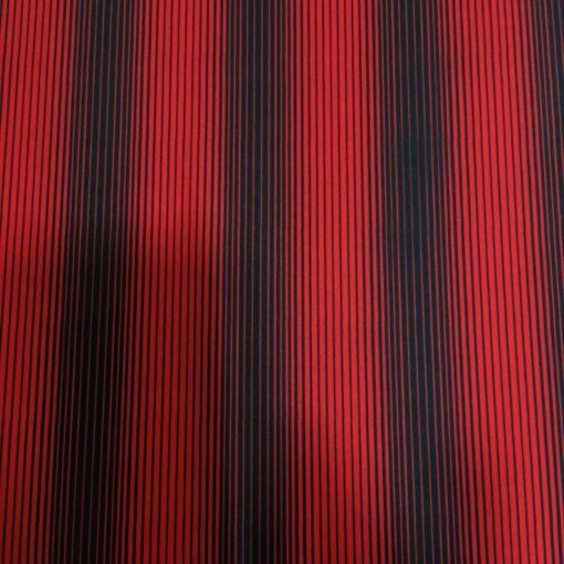Lycra imprimé rouge rayure fine noir