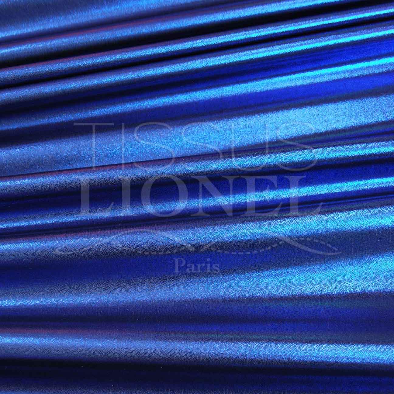 Lycra Glitter Multi Marine Background Glitter Blue Lionel Fabrics