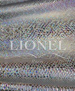 lycra pailleté serpent fond blanc pailleté argent hologramme