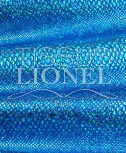 Lycra blue background snake glittery sequined turquoise hologram