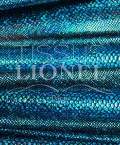 Lycra black background snake glittery sequined turquoise hologram