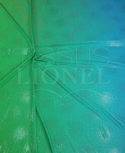 lycra pailleté vert fluo degradé turquoise