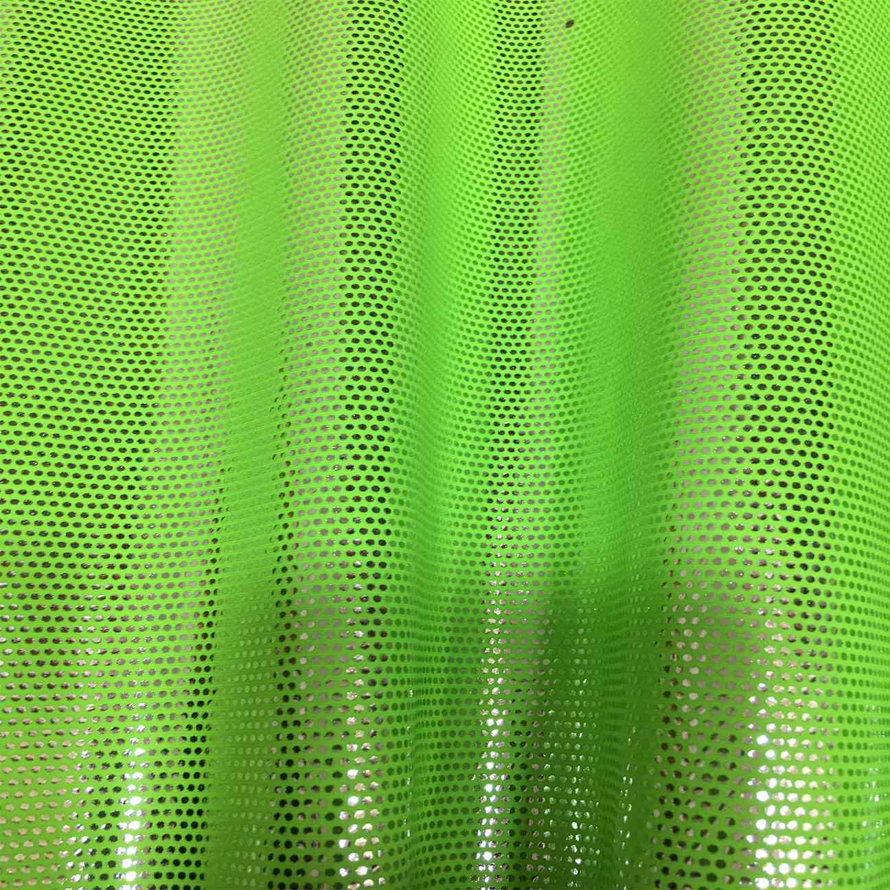 d46192c153b9 Lycra brillante de neón fondo verde brillante plata - Lionel Telas