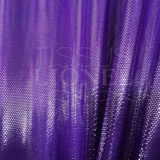 Lycra pailleté fond violet pailleté argent
