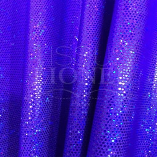 Lycra pailleté fond violet pailleté bleu