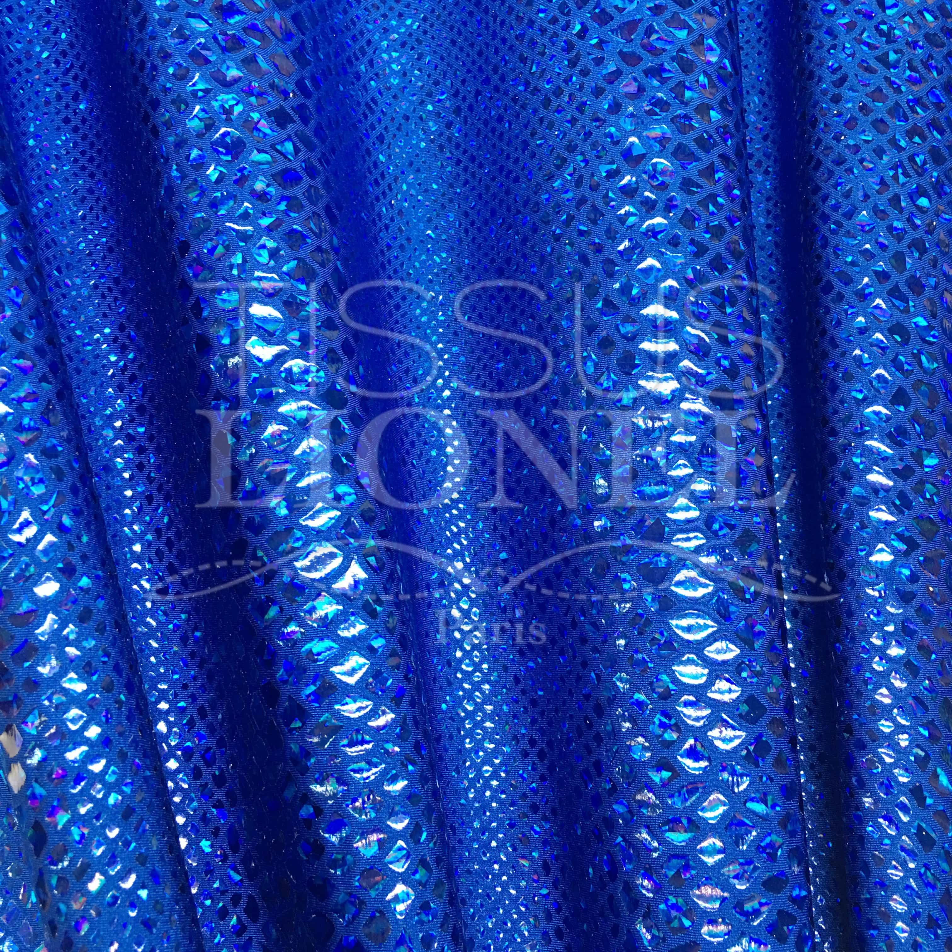 64317233e HOLOGRAMA LYCRA SERPIENTE El brillo azul brillo azul - Lionel Telas