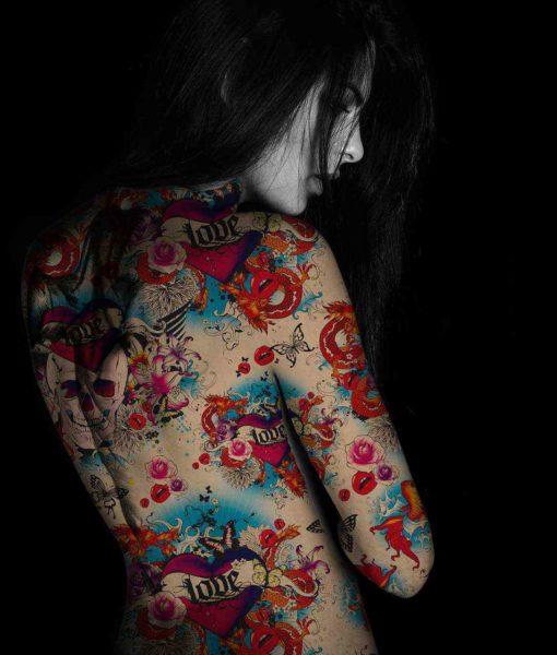 Lycra résille tatouage love kiss
