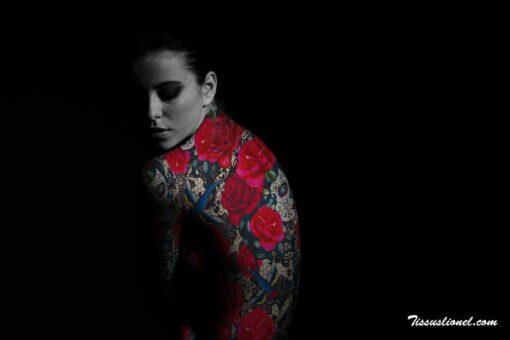 Lycra résille tatouage rose passion