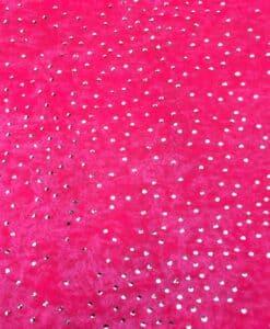 Lycra velours fond rose fluo pailleté argent