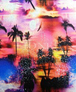 Lycra printed glittery Miami