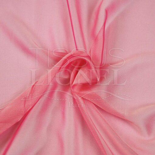 mousseline changeante deux files rose, rose fluo et blanc