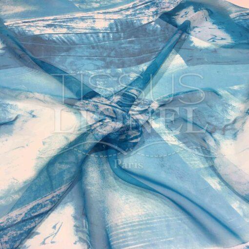 Mousseline de soie dégradé turquoise