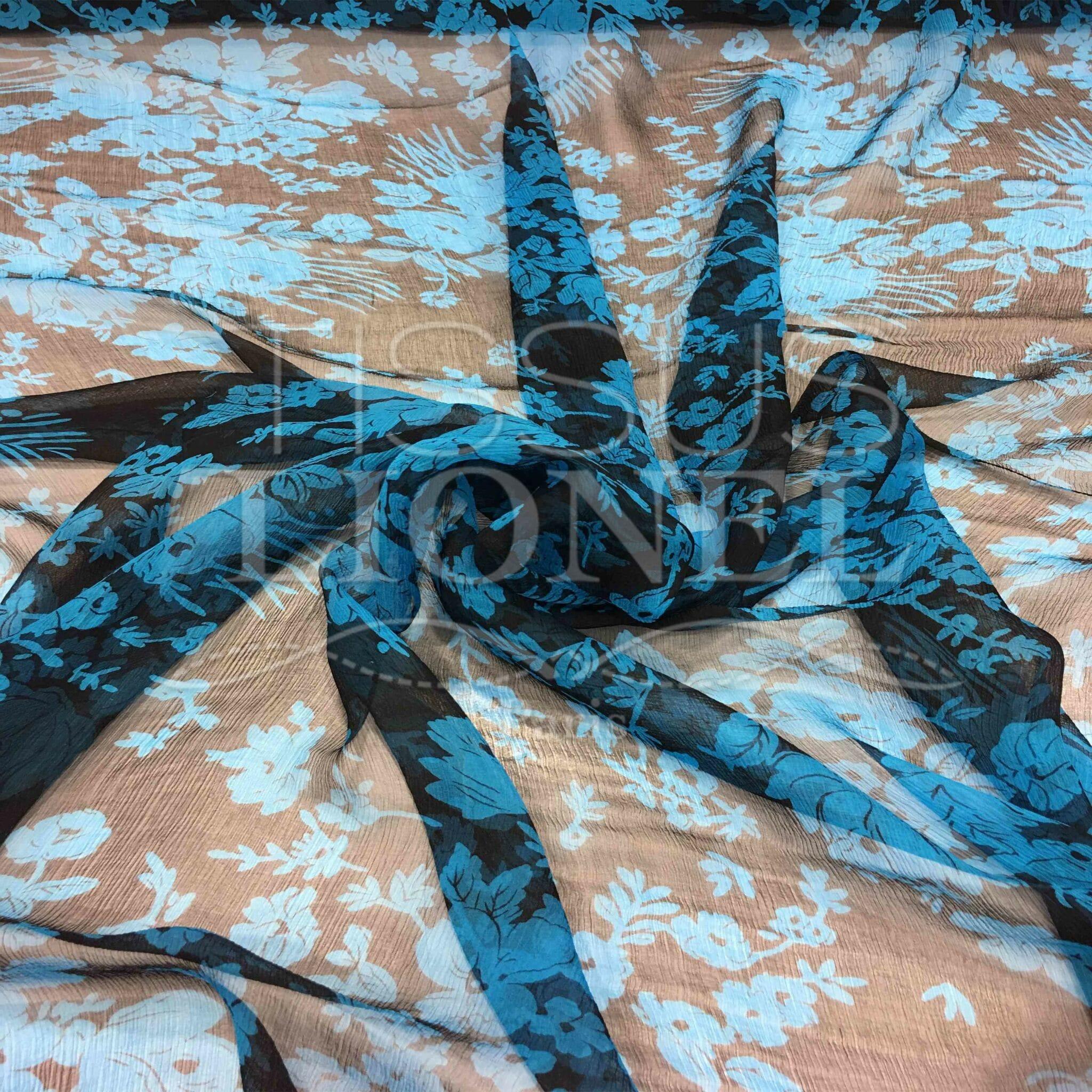 SOLDES-mousseline 50 x 140 kaki avec plume en or