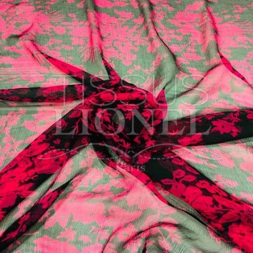 Mousseline de soie fleuris rouge et noir
