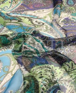 Paisley pattern chiffon blue background