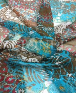 Paisley Imprimir fondo azul turquesa gasa