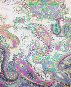 Chiffon Paisley pattern multicolored green hearth