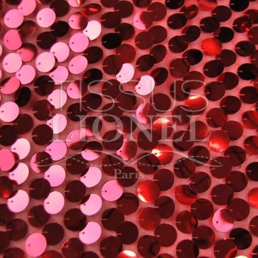 mousseline pailleté fond rouge pailleté rouge