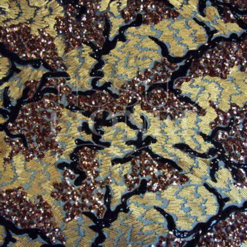 pailleté tie and dye cuivré et or