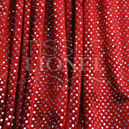 panne de velour pailleté hologramme fond rouge pailleté argent hologramme