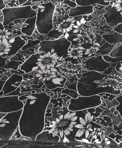 Panne de velours fleurs noir et argent