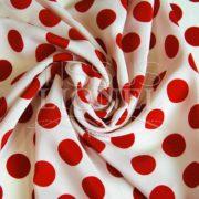 polyester imprimé fond blanc gros pois rouge
