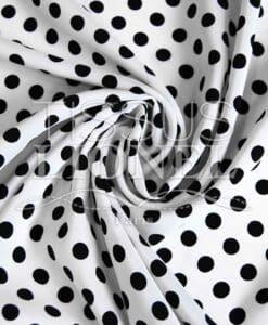 polyester imprimé fond blanc pois noir