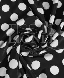 polyester imprimé fond noir gros pois blanc