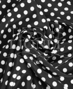 polyester imprimé fond noir pois blanc