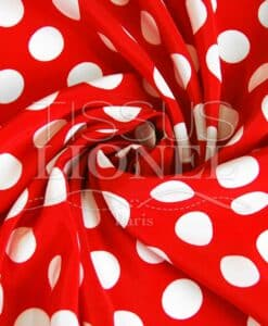 printed polyester red large white dots background