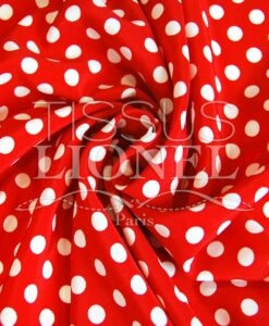 polyester printed red background white dots