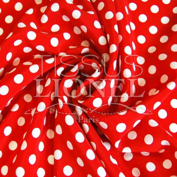 polyester imprimé fond rouge pois blanc