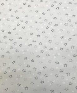 Popeline de coton bio étoile noir sur fond vert d'eau