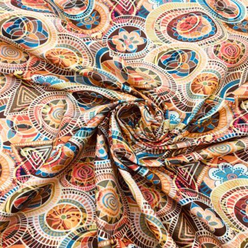 Popeline de coton mandala